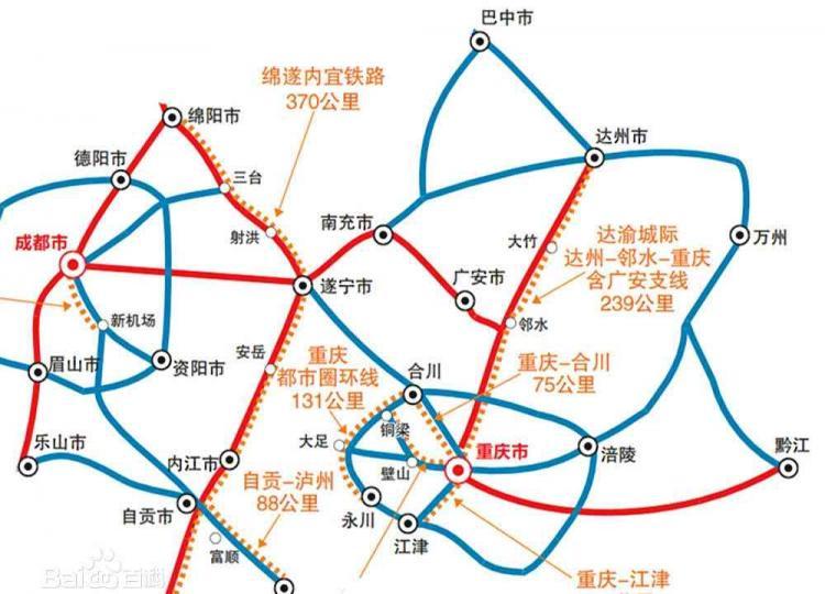 四川重庆正规划一条高铁